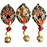 ArtZone Handmade ShubhLabh With Ganpati Mukh Peice For Diwali Set Of 12 (Golden Black, 10 Cm)