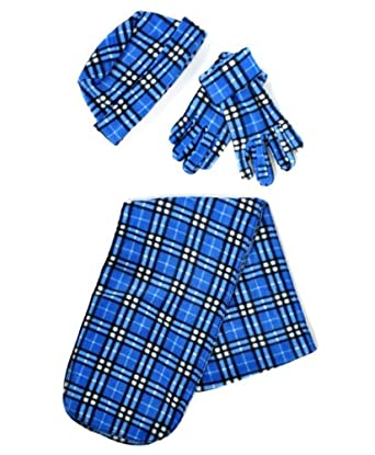 Blue & Black Buffalo Plaid Printed 3 Piece Fleece Hat, Scarf & Glove Winter Set