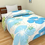 SS SALES Microfiber Big Blue Flower Print Double Bed Dohar/AC Blanket