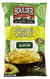 Boulder Canyon Authentic Foods Avocado Oil Canyon CutTM Kettle Cooked Potato Chips Jalapeno -- 5.25 oz (Pack of 2)