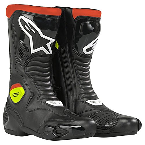2013 Alpinestars S-MX 5 Waterproof Motorcycle Boots - BlackRedYellow - 49