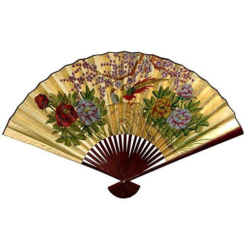Oriental Furniture Gold Leaf Cherry Blossom Fan - 30
