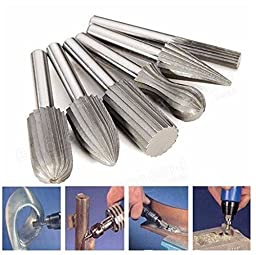 6pcs 6mm Shank Tungsten Steel Rotary File Cutter Engraving Grinding Bit For Rotary Tools by Abcstore99
