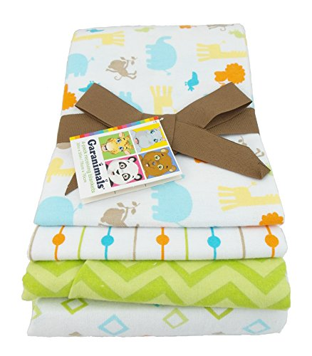 Garanimals 4-Pack Cotton Receiving Blankets, Green - 1