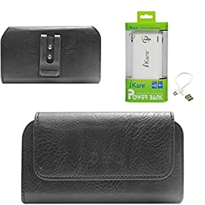 DMG Premium PU Leather Cell Phone Pouch Carrying Case with Belt Clip Holster for Sony Xperia Z2 (Black) + 6600 mAh Power Bank
