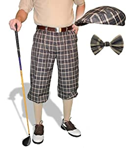 Plaid Golf Knickers Cap & Bow Tie - Mens Par 5 Carolina Cotton $189.95 AT vintagedancer.com