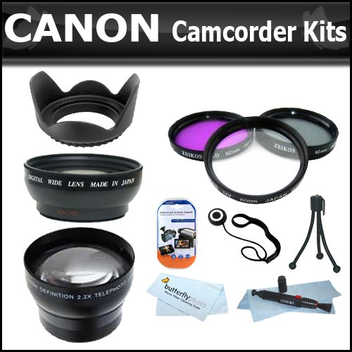 58mm WIDE ANGLE MACRO LENS + 2X TELEPHOTO LENS + 3 PC. FILTER KIT + Lens Hood FOR THE Canon VIXIA HF S20, HF S200, HF S21, HF S30 Flash Memory Camcorders.KIT ALSO INCLUDES LENS CLEANING KIT AND LCD SCREEN PROTECTORS ++MORE !!