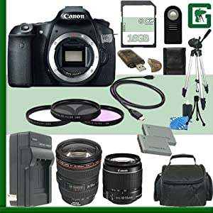Canon EOS 60D Digital SLR Camera and Canon 18-55mm Lens and Canon 24-105mm Lens + 16GB Green's Camera Package 2