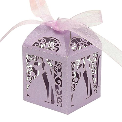 PONATIA 50pcs/Lot Colorful Bride and Groom Candy Box Paper Wedding Favors Candy Boxes Party Wrapper (Light Purple)