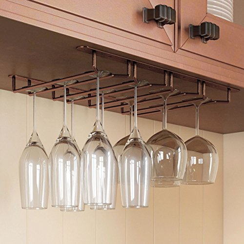 Stemware Glass Rack , Oil Rubbed Finish Under Cabinet Wine Glass Hanger Storage for Bar or Kitchen by Rack and Hook (Rack Wine Glasses compare prices)