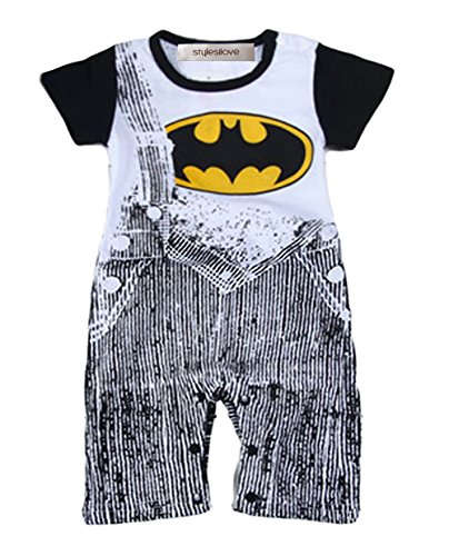 StylesILove Baby Boy Super Hero Jeans Print Costume Jumpsuit (6-12 Months, Black Batman)