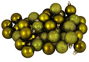 """96ct Olive Green Shatterproof 4-Finish Christmas Ball Ornaments 1.5"""" (40mm)"""
