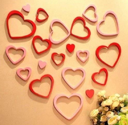 【ELEEJE】 大きな ハート の 3D 立体 ウォール ステッカー リビング 子供部屋 など インテリア 用 (ピンク色と赤色のセット)