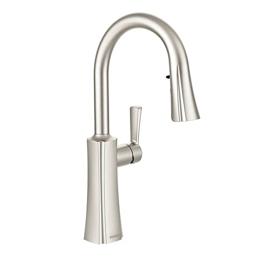 Moen S72608SRS Etch One-Handle High Arc Pulldown Kitchen Faucet Featuring Reflex, Spot Resist Stainless