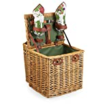 Picnic Time Vino Picnic Basket with Wine and Cheese Service for Two, Pine Green