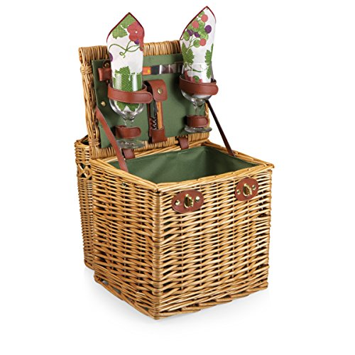 Picnic Time Vino Picnic Basket with Wine and Cheese Service for Two, Pine Green (Gift Wine And Cheese Baskets compare prices)