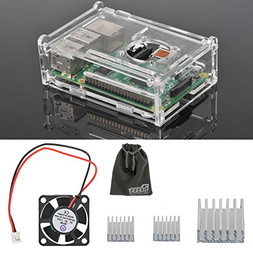Premium Clear Enclosure Housing Case Box Transparent Cover,Cooling External Fan for Raspberry Pi 3/2 Model B/B+ Accessory,EEEKit 3in1 Starter Kit (Clear Cooling Fan compare prices)