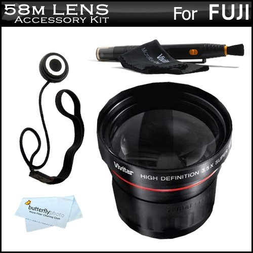 Vivitar 58mm Fisheye Lens Kit For Fuji FujiFilm Finepix Digital Camera Includes High Definition 0.21x Super Wide Angle Fisheye Lens + LensPen Cleaning Kit + Lens Cap Keeper + Microfiber Cleaning Cloth