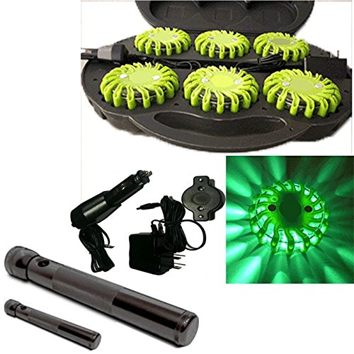 6 Pack Green Rechargable Waterproof Led Magnet Safety Flare With 9 Operating Modes + Free Chargers And Travel Case And Led Flashlight Set!