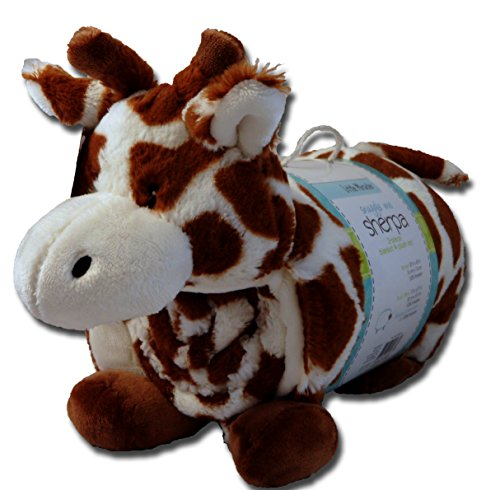 2 Piece Plush Blanket Pillow Set, Snuggle Me Sherpa: Little Miracles, Giraffe