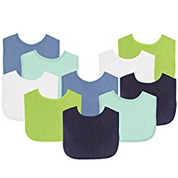 Luvable Friends Baby Bibs Value Pack, Navy/Lime, 6 x 7.5\