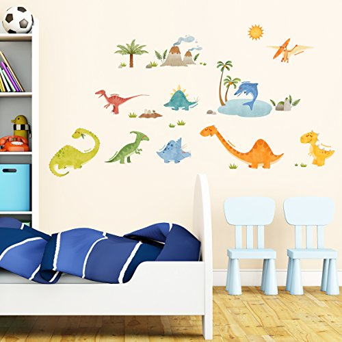 DecowallDW-1505Dinosaurs-peel-stick-Nursery-wall-decals-stickers