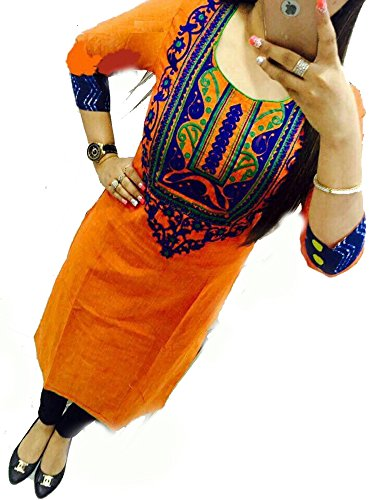 Selfie-style-Trendy-Orange-color-Georgette-Embroidery-semi-stitched-kurti