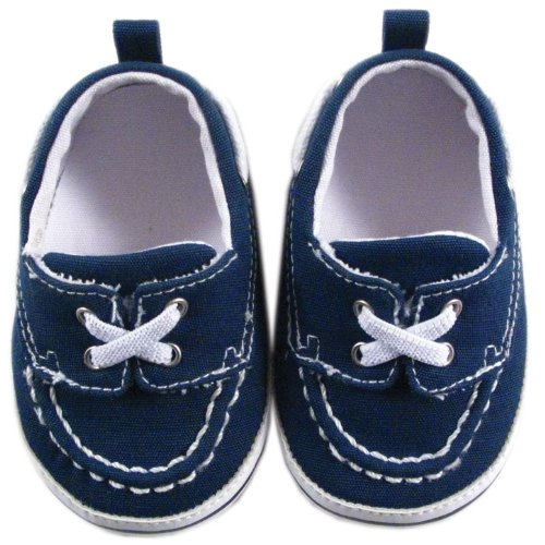 Luvable Friends Boy's Slip-on Shoe for Baby, Navy, 0-6 Months