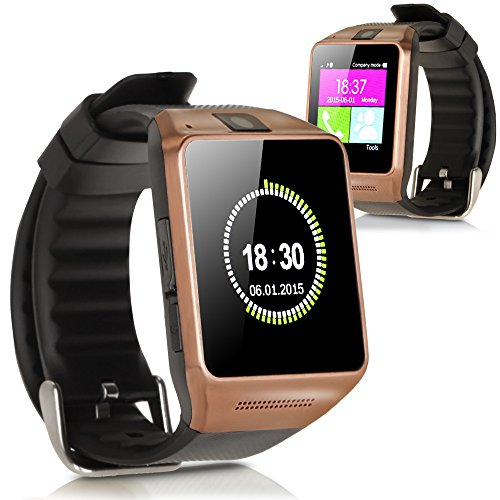 Luxsure® GV08 Bluetooth Watch 1.54 Inch Smart Watch Phone Support SIM Card Smartwatch with Camera Wristwatch for Iphone Samsung HTC Lg Android Smartphones(gold)