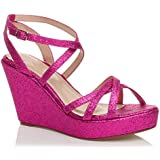 Womens ladies platform flatform high heel wedge strappy sandals shoes size
