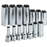 SK 1854 14 Piece 3/8-Inch Drive 6 Point 6-Millimeter to 19-Millimeter Deep Socket Set