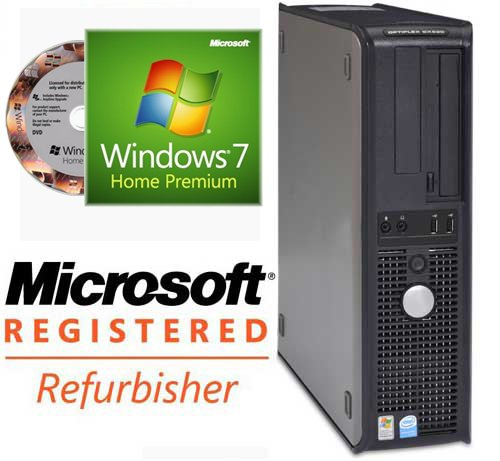 Windows 7, Dell Optiplex GX280 Desktop PC, Pentium 4 3.4GHz with HT Technology, 1024MB Ram Memory, 80GB Hard Drive, DVD-Rom, Genuine Windows 7 Home Premium pre-installed (w/COA license and genuine installation disk)