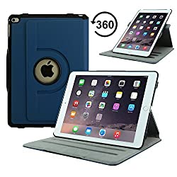 iPad Air 2 Case - ACdream 360 Degree Rotating Premium PU Leather Smart Cover Case for iPad Air 2 (iPad 6) 2014 Version with Auto Wake Sleep Feature [Only Fit ipad air 2 2014 Version ; NOT FIT iPad Air 2013 Version] , Dark Blue