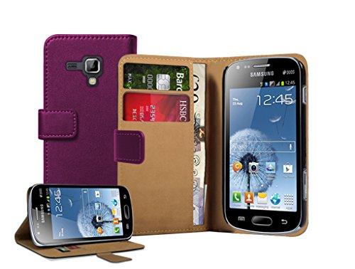 Membrane - Lila Brieftasche Klapptasche Hülle Samsung Galaxy Trend Plus (GT-S7580) - Wallet Flip Case Cover Schutzhülle