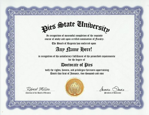 Doctorate of Pies Certificate