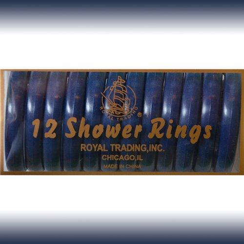 NAVY 12-Piece Plastic Shower Curtain Rings. Snap-lock.