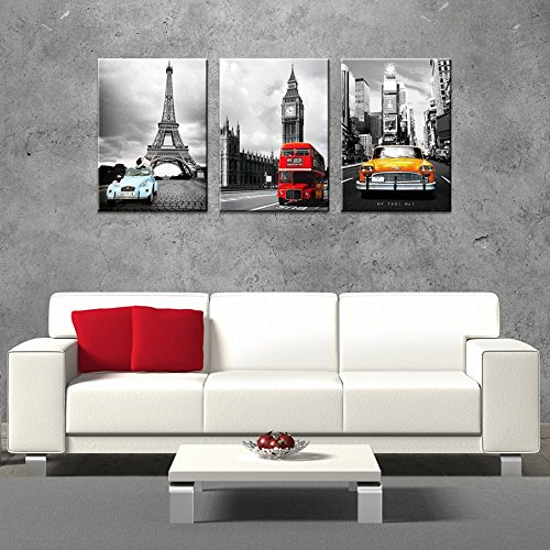 CanvasCEO NYC Paris London Eiffel Tower New York City France Europe Big Ben Car Double Decker Red Bus 3 Panel Set Wall Art Decor Canvas Framed Ready to Hang Print Fiberboard (28x20x1 (Paint New York compare prices)