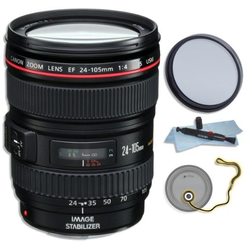 Low priced Canon EF 24-105mm f/4L IS USM AF Lens (in White Box) for EOS 1D, 5D III, 6D, 7D 70D + GID Accessory Bundle