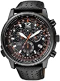 Citizen Promaster Sky AS4025-08E - Reloj cronógrafo de cuarzo para hombre, correa de cuero color negro