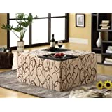 Kami Stroke Pattern Fabric Storage Ottoman with 4-Trays