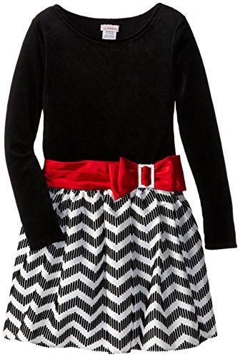 Youngland Little Girls' Chevron Print Velvet Dress, Black/White/Red, 4T