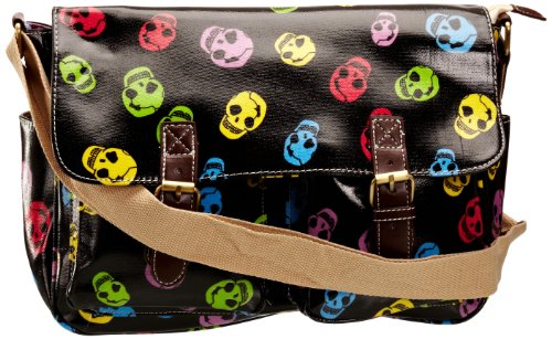 SwankySwans Unisex Child Alex Funky Bow Skull Print Satchel