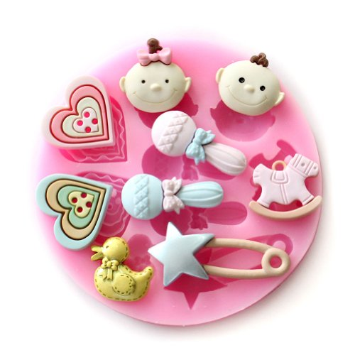 Wocuz Candy Molds Baby Heart Toy Silicone Mold Fondant Molds Sugar Craft Tools Chocolate Mould for Cakes