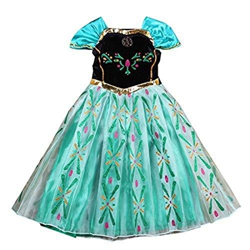 GenialES® Disfraz Vestido de Princesa Largo Lindo Regalo para Cumpleaños Disfraz de Carnaval Fiesta Cosplay Boda Halloween para Niñas a Partir de 2 a 7 Años Talla120