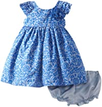 Laura Ashley London Baby-Girls Infant Lace Ruffle Dress, Blue, 12 Months