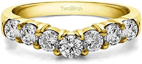 10k Gold Slightly Contoured Classic Style Wedding Ring with Forever Brilliant Moissanite by Charles