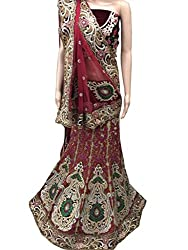 Suchi Fashion Maroon Heavy Embroidered Net & Jacquard Semistitched Party Wear Lehenga Choli