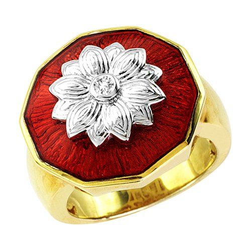 Jewelili 18KT Gold Plated Sterling Silver with Translucent Dark Red Enamel Diamond Ring (0.04 Cttw, IJ Colour, I2/I3 Clarity), Size 7