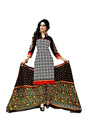 MD Textiles Women Cotton Dress material (KitKet_2001_Black_Black_Free Size)