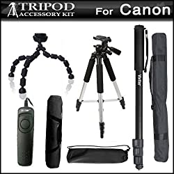 Tripod Kit For Canon EOS 60D, T5i, t5, T4i, T2i, T3i, XS, XSi, G10, G11, G12, SX60HS, SX60 HS Digital SLR Camera Includes 57